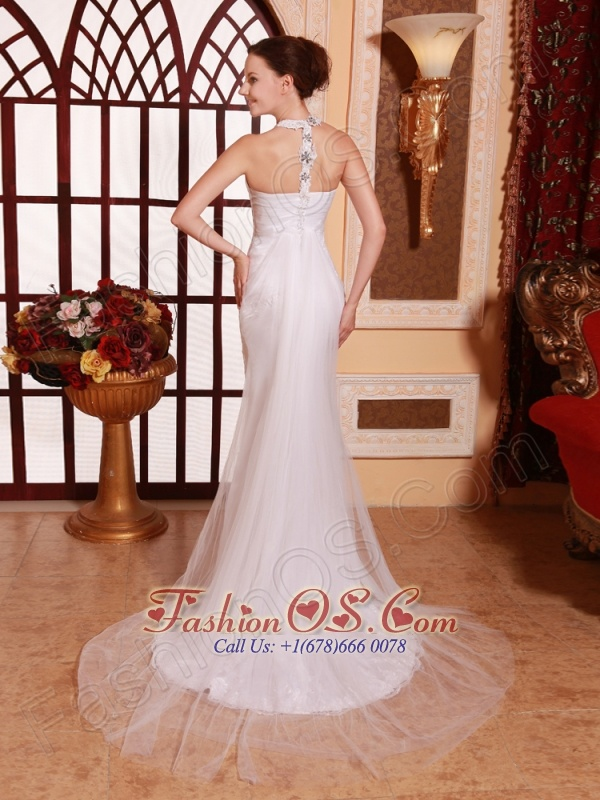High Neck Tulle Court Train Beaded Wedding Dress Stylish Custom Made