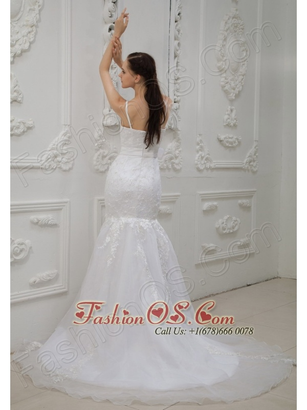 Lace and Bowknot Decorate Bodice Spaghetti  Straps Mermaid Court Train 2013 Wedding Dress