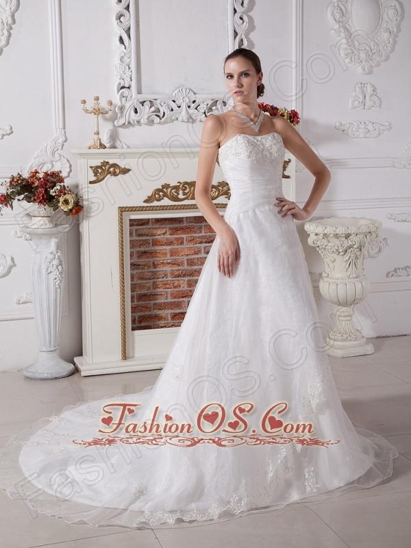 Lace Decorate Bodice A-line Strapless Organza Court Train 2013 Wedding Dress