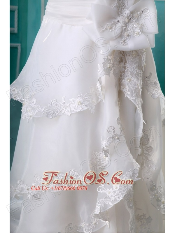Lace Sweetheart Cathedral Train Empire Organza 2013 Wedding Dress