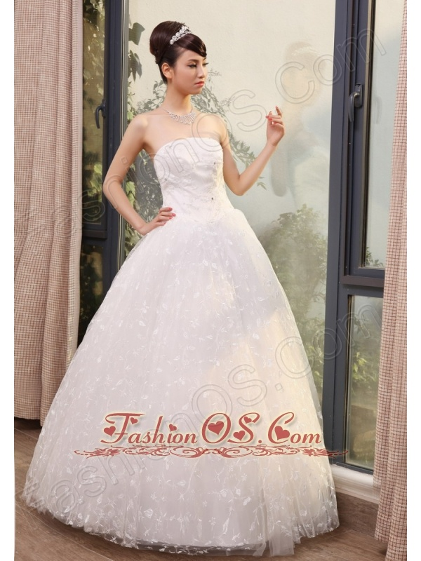 Lace With Beading Decorate Bodice Strapless Floor-length 2013 Wedding Dress