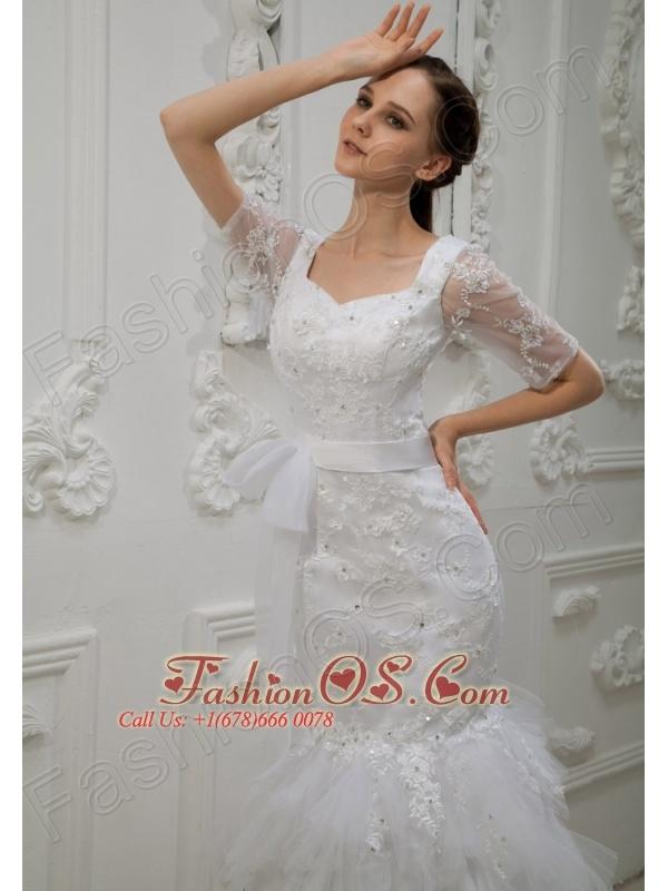 Lace With Beading Sash V-neck Mermaid Floor-length Taffeta and Tulle 2013 Wedding Dress