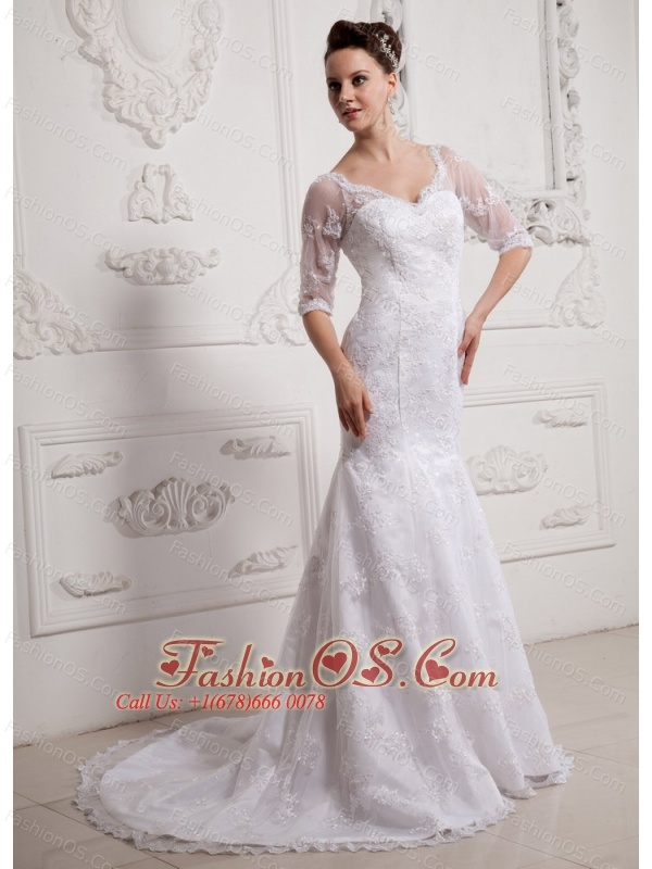 Luxurious V-neck Long Sleeves Mermaid 2013 Wedding Dress