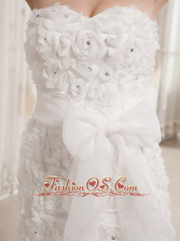 Mermaid Fabric With Rolling Flowers Sweetheart Wedding Dress With Sash