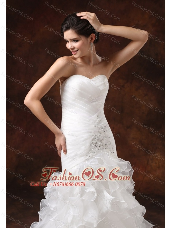 Mermaid Ruched Bodice and Ruffled layers For 2013 Modest Wedding Dress With Beading