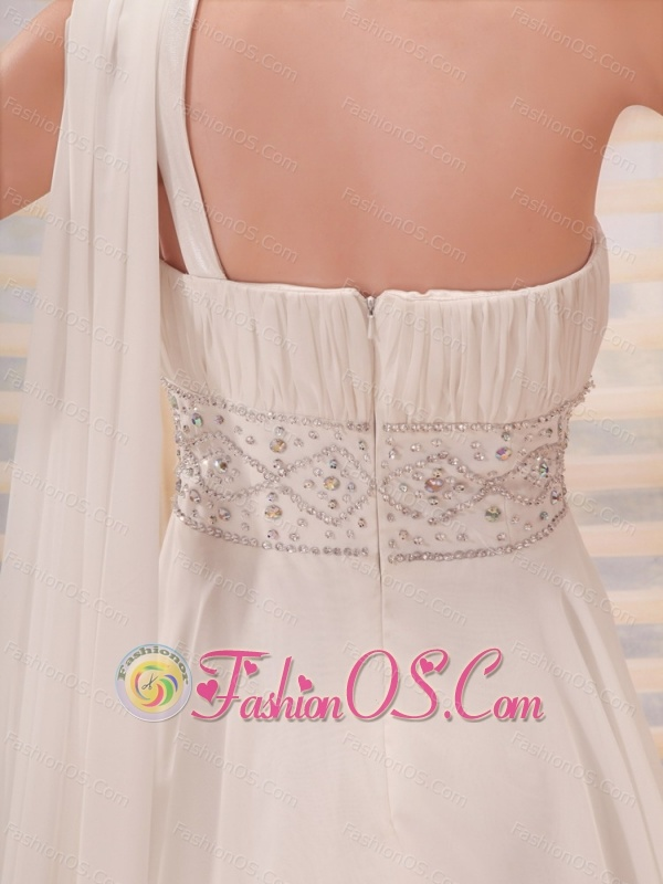 One Shoulder Beaded and Ruch Decorate Waist With Watteat Train Wedding Dress