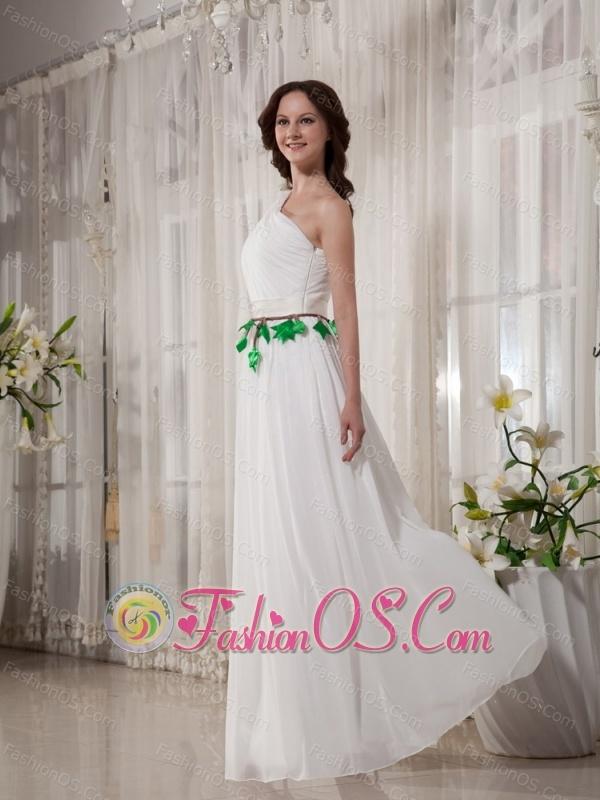One Shoulder Belt For Empire Cheap Floor-length Wedding Dress