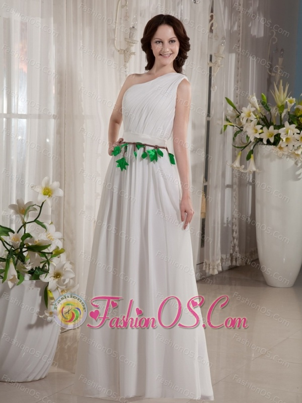 One Shoulder Belt For Empire Cheap Floor-length Wedding Dress