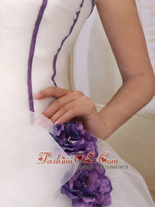 Purple Bow and Flowers Decorate Court Train Wedding Dress