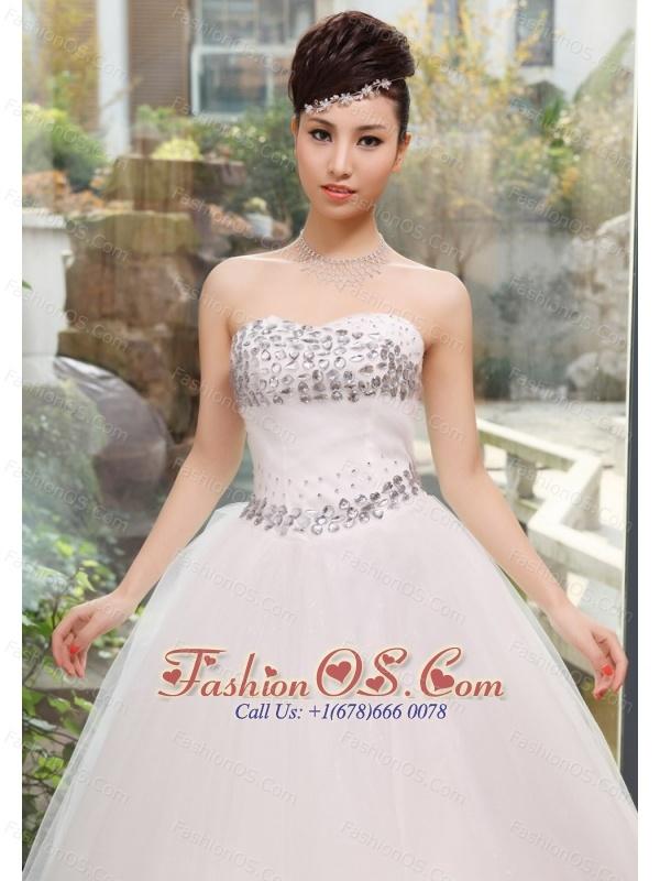 Rhinestones Decorate Bust and Waist Sweetheart Neckline Floor-length Tulle Wedding Dress For 2013