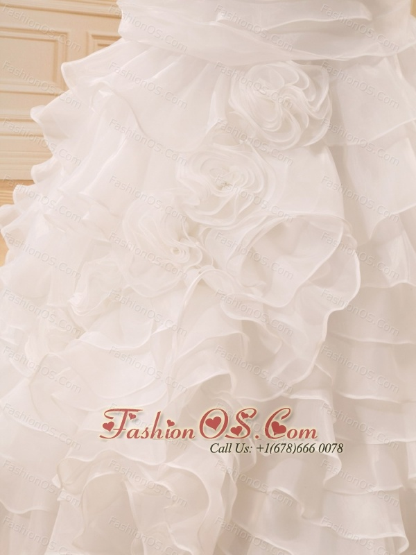 Ruffles Strapless Hand Made Flowers Organza Stylish Custom Made Wedding Dress For 2013