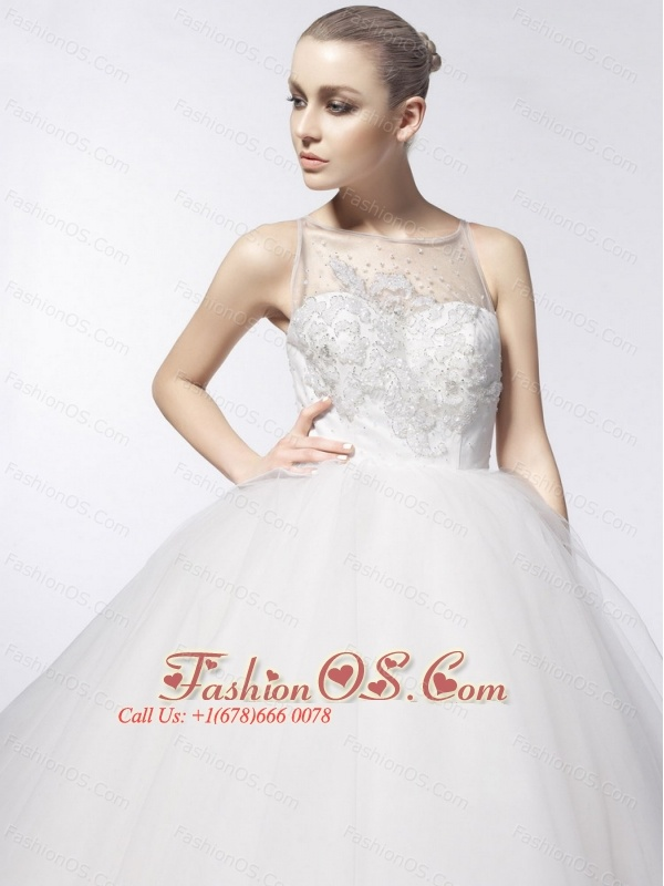 Sashes / Ribbons Ball Gown Scoop Floor-length Tulle 2013 Wedding Dress