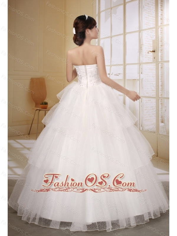 Satin and Organza Strapless Neckline Wedding Dress With Bow and Beaded Decorate