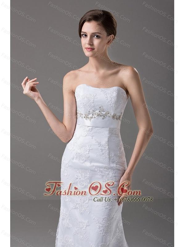 Sexy Beading Strapless Tulle Column / Sheath Garden / Outdoor Wedding Dress Brush / Sweep