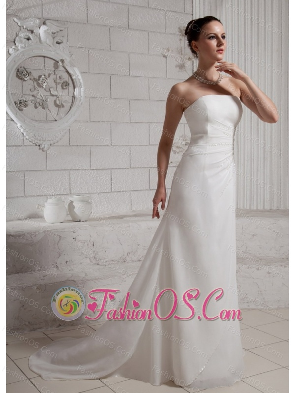 Simple Appliques Wedding Dress With Court Train Chiffon For Custom Made