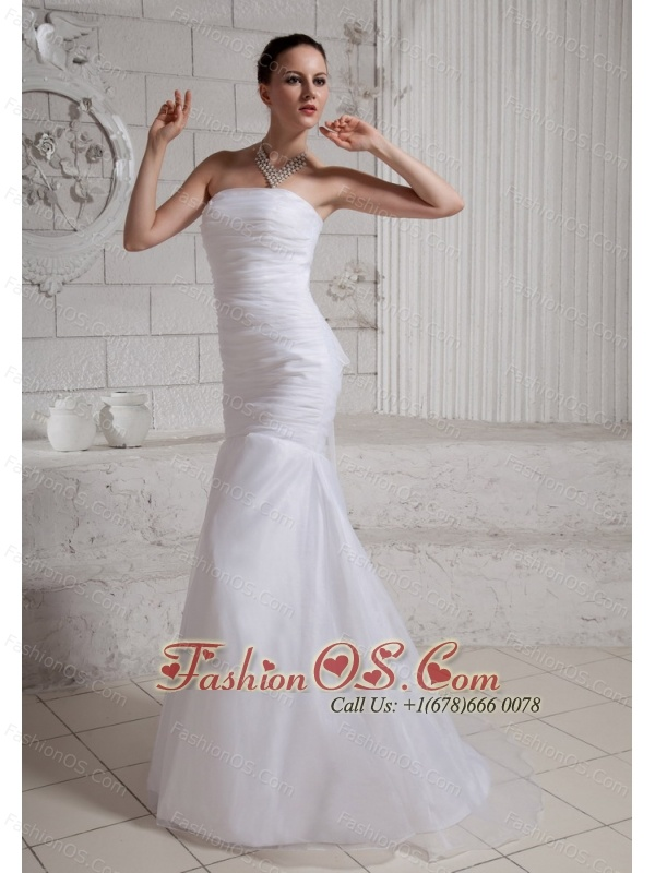 Simple Mermaid Wedding Dress With Court Train Organza