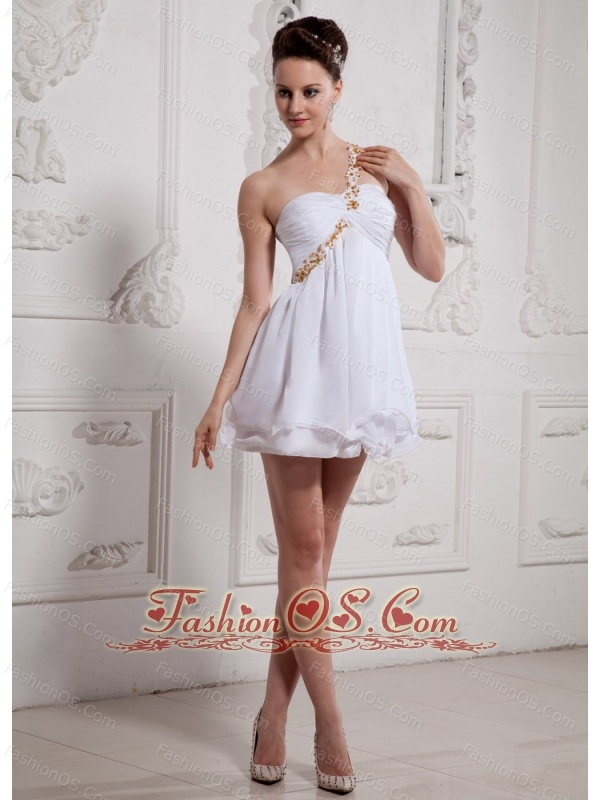 Simple Short Empire One Shoulder 2013 Wedding Gowns With Lace Beading Decorate Straps