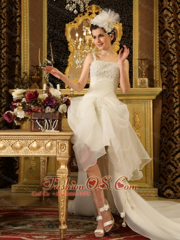 Spaghetti Straps Beaded High-low Wedding Dress With Chapel Train For Custom Made