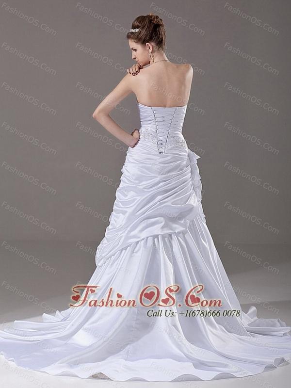 Strapless Beading A-Line / Princess Court Train Taffeta 2013 Wedding Dress
