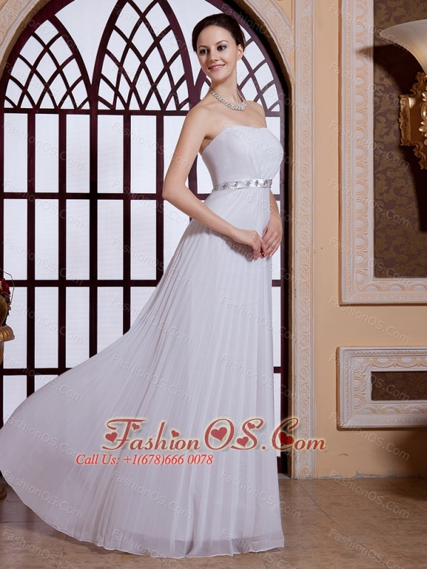 Strapless White Empire Floor-length Chiffon Simple 2013 Prom Gowns Customize