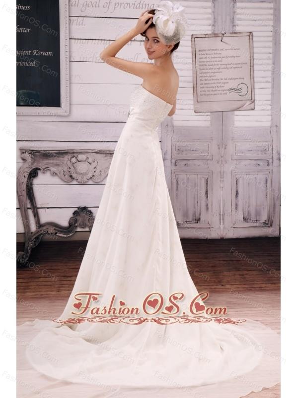 Stylish Sweetheart Empire Wedding Dress Beaded Decorate Bust