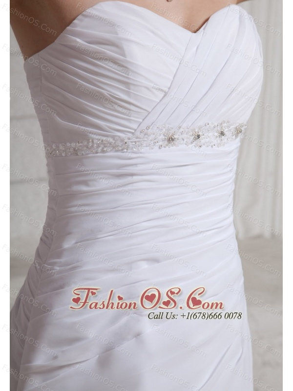 Sweetheart Appliques With Beading Wedding Dress With Court Train For Custom Made Chiffon