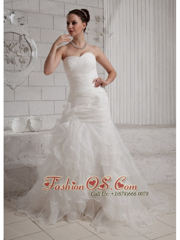 Sweetheart Ruffles and Hand Made Flowers Wedding Dress With Court Train For Custom Made