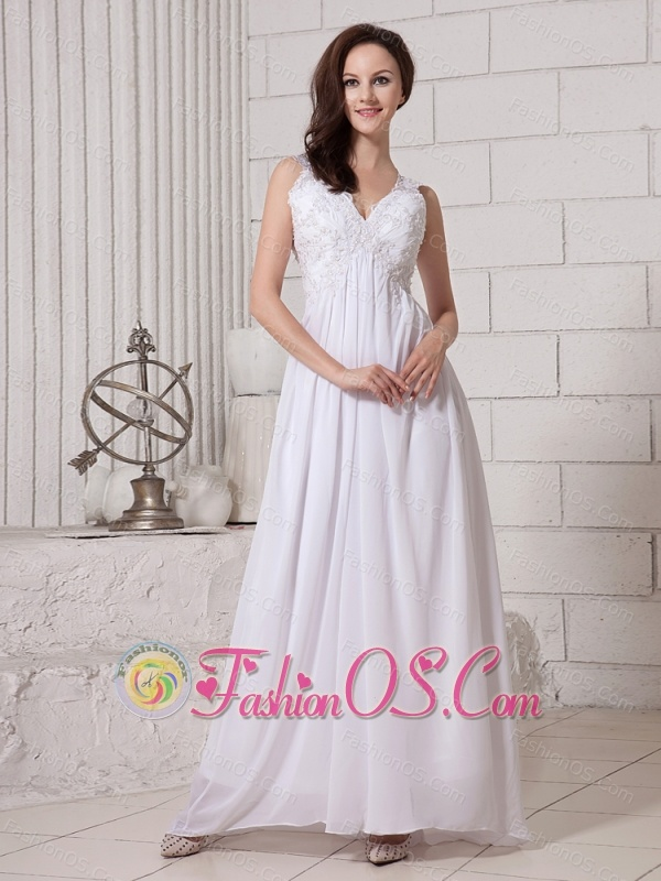 V-neck Empire Ankle-length Chiffon Appliques New Style 2013 Prom Gowns
