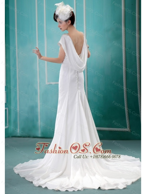 V-neck Neckline Sequins and Rhinestones Decorate Wedding Dress With Short Sleeves