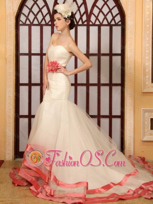 Watermelon Red Hand Made Flower Belt Mermaid Sweetheart Wedding Dress With Chapel Train
