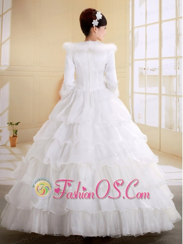 White Organza and Tulle  With Imitated Feather Decorate High-neck Long Sleeves Organza Wedding Dress