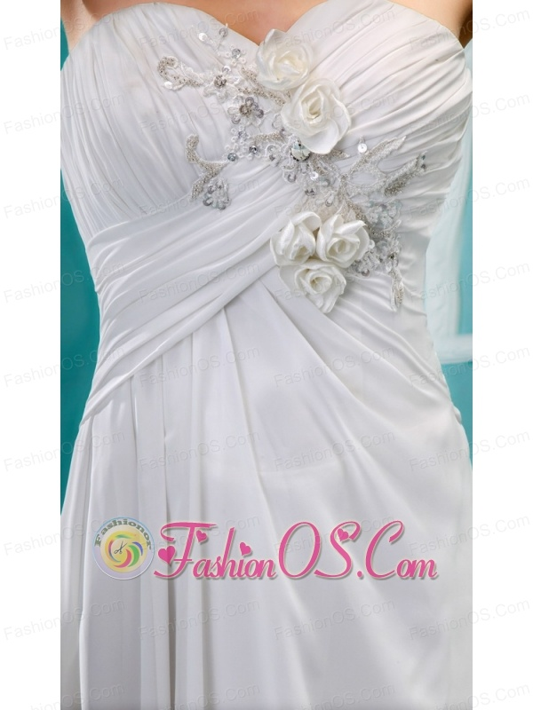 White Stylish Wedding Dress Hand Made Flower and Ruch In Graduation