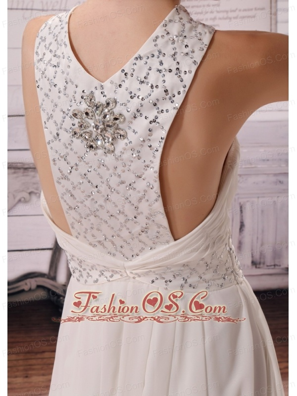 Wholesale V-neck Empire 2013 Wedding Dress With Beading