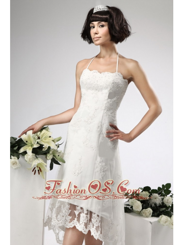 Appliques Lace Empire Halter Appliques High-low Wedding Dress Zipper-up