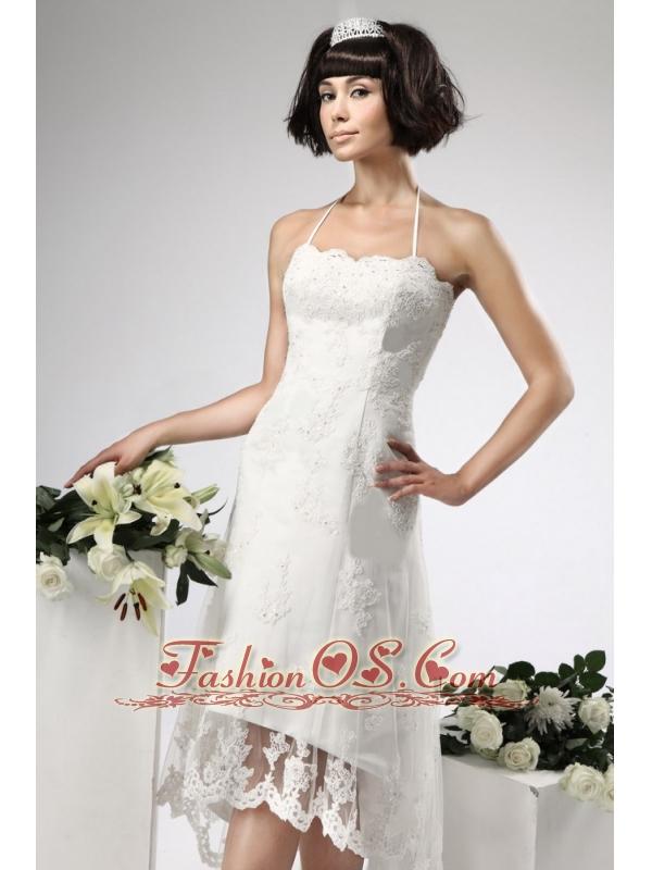 Appliques Lace Empire Halter Appliques High-low Wedding Dress Zipper-up