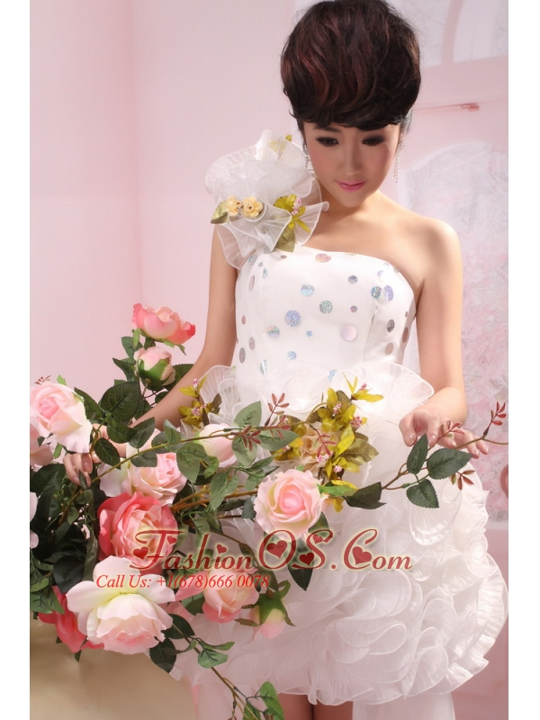 Bad Soden Germany White Hand Made Flower One Shoulder High Slit High-low Organza 2013 Wedding Dress