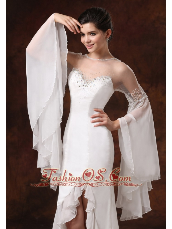 Bateau High Slit Long Sleeves and Beaded For 2013 Wedding Dress