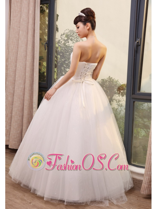 Beaded Decorate Up Bodice Sweetheart Neckline Tulle and Taffeta Floor-length 2013 Wedding Dress