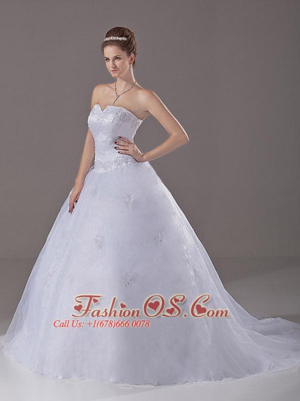Beading A-Line / Princess Organza Strapless Brush / Sweep Wedding Dress Zipper-up