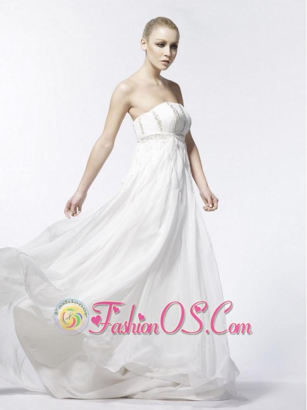 Beading Empire Strapless Organza Brush / Sweep Affordable Wedding Dress