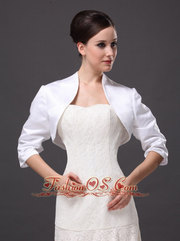 Custom Made White High-neck Jacket With 1/2 Sleeves For Wedding