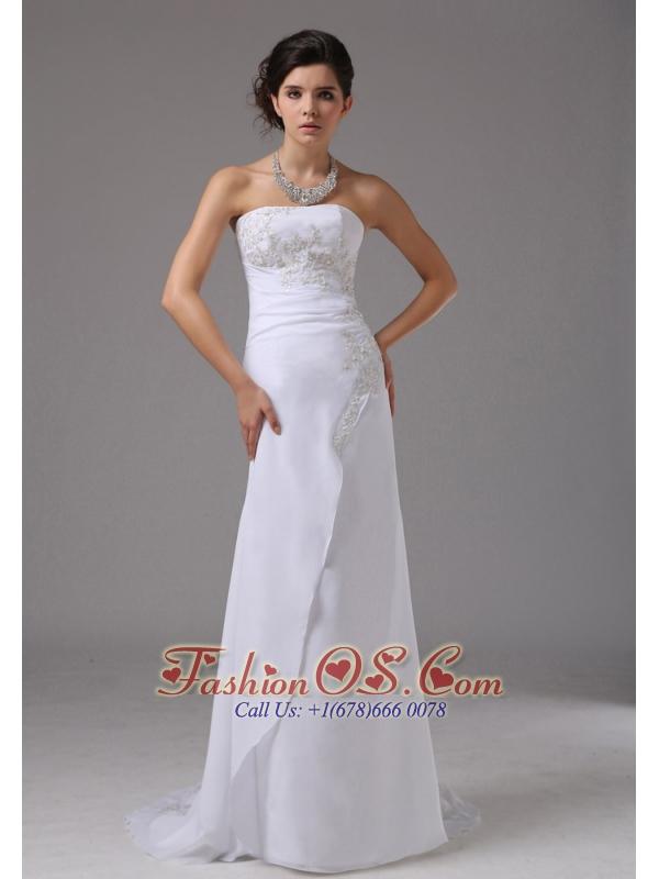 Embroidery Decorate Up Bodice Strapless Brush Train Chiffon 2013 Wedding Dress