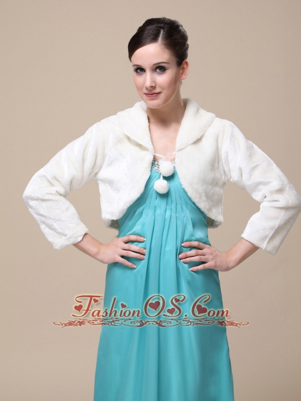 Faux Fur Special Occasion Jacket  In Ivory With Fold-over Collar