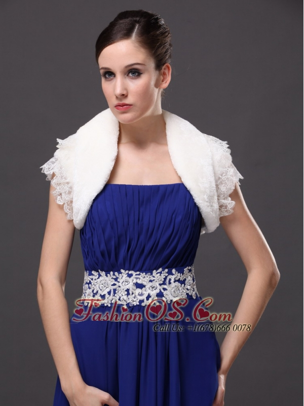 High Quality Faux Fur Special Occasion / Jacket  In Ivory With Lace Edge