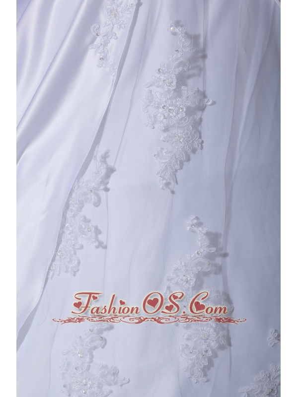 Lace and Appliques Straps A-Line / Princess Straps Court Train Taffeta Wedding Dress