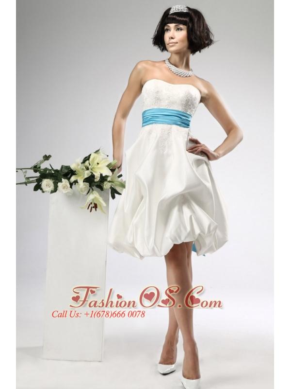 Lace Sashes / Ribbons Empire Taffeta Strapless Knee-length Beach / Destination Wedding Dress