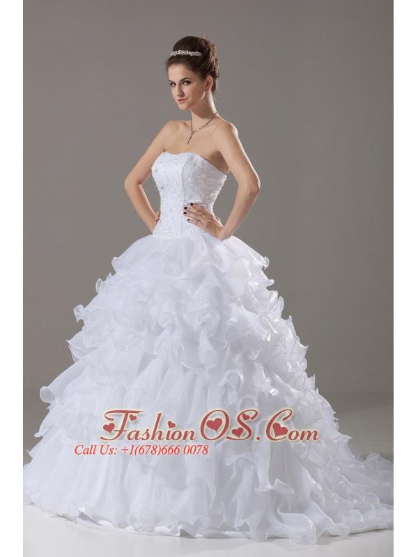 Layer Strapless Beading Ball Gown Beading Brush / Sweep Wedding Dress