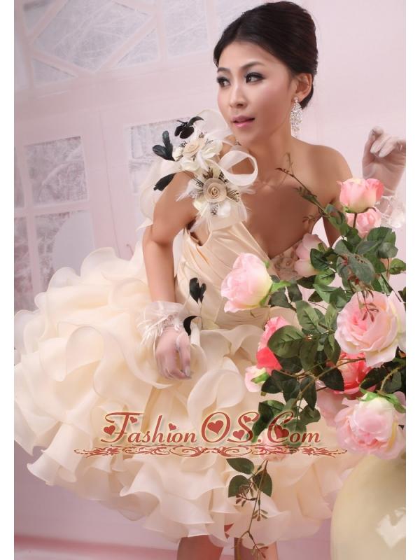 One Shoulder Ruffles Organza Column / Sheath Champagne Mini-length Wedding Dress