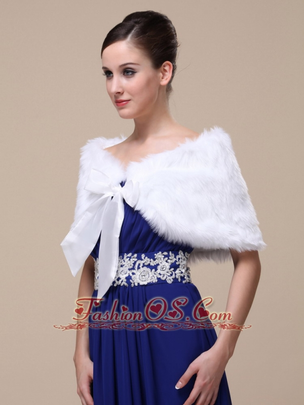 Rabbit Fur Special Occasion / Wedding Shawl  In Ivory With Off The Shoulder