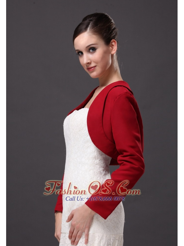 Red Satin Long Sleeves Jacket For Wedding Party